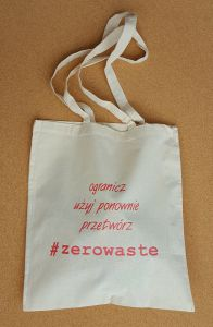 Cotton Shopping Bag #zerowaste with red overprint